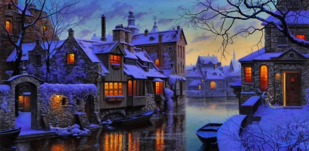 Winter Venice - beautiful, evening, night, art, house, canal, town, Venice, boat, water, snow, painting, reflection