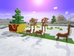 Rudolph Deer, Santa's Carriage, - Happy New Year with Realmcraft Free Minecraft Clone