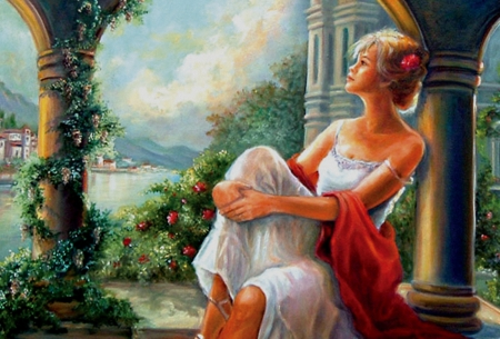 Time to rest - pillar, painting, garden, flowers, woman, castle, lake