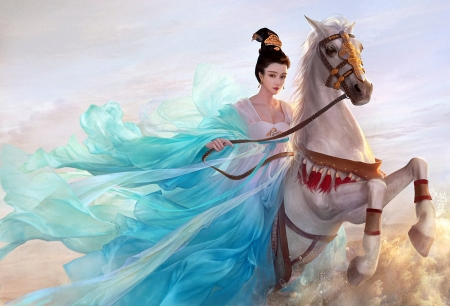 Riding - chinese, riding, girl, horse