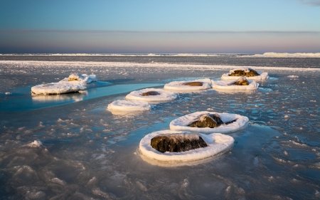 Winter Sea - rocks, Latvia, winter, sea
