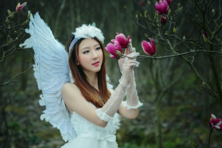 Angel - model, girl, angel, flower, pink, white, wings, magnolia, spring, woman