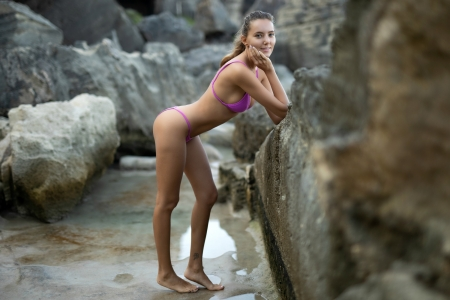 Bikini Model ~ Katya Clover - rocks, brunette, model, bikini, smile