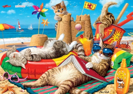 Beachcombers - funny, cats, sea, art, digital, book