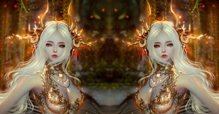 :) - girl, mila milova, fantasy, orange, golden, collage