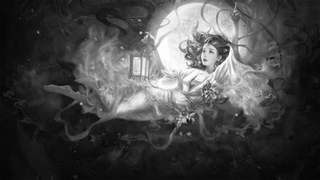 Chang'e - change, frumusete, lantern, luna, luminos, chang e, goddess, superb, fantasy, moon, zhuang qi, bw, girl, girgeous, bunny