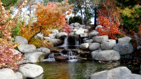 Pebbles and such - pebbles, falls, rocks, autumn, garden, feature, nature