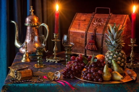 Still life - Fruits, Glasses, Book, Candle