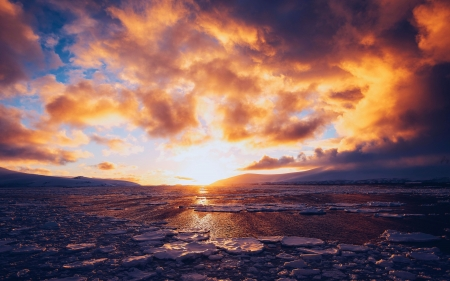 Neko Harbor, Antarctica - sun, clouds, sky, ice, colors, sea