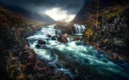 The Cold River Coe, Scotland - rocks, stones, water, mountains, clouds