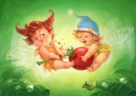 Its my Fruit - painting, fruit, fairies, green