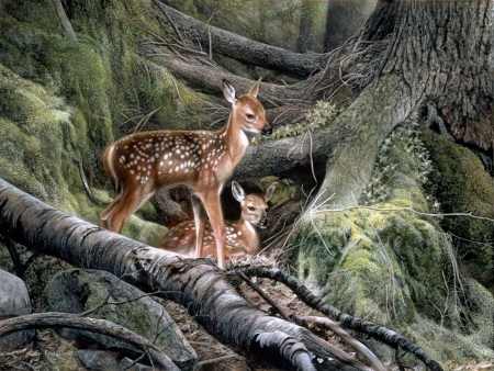 Young Deers - painting, young, tree, deer