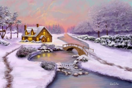 Winter Cottage - forest, bridge, snow, painting, sunset, river, trees, artwork
