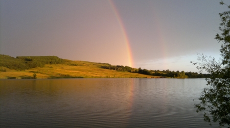 Rainbows over lake - nature, rain, rainbow, lake