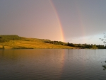 Rainbows over lake