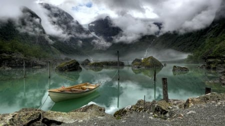Boat in a Norwegian Fjord - mountains, norway, landscape, rock, clouds, scandinavia