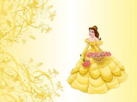 Princess Belle - princess, beauty and the beast, dress, girl, belle, yellow, disney