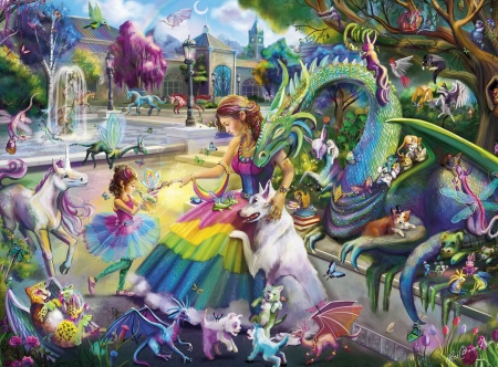 :) - colorful, art, fantasy, luminos, girl, dragon, dog, fairy