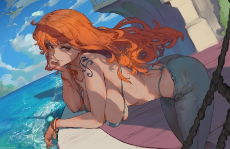 Nami - nami, redhead, tattoo, one piece