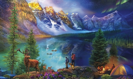 Camping at Lake Moraine - scenic, lakes, Lake Moraine, mountains, camping, majestic, nature, deer, breathtaking