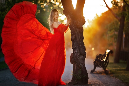 The Lady in Red - red, blonde, dress, model, sunset