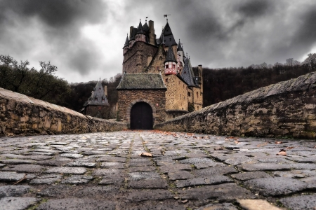 Eltz Castle, Germany - walls, clouds, germany, castle