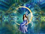 Fairy on water moon