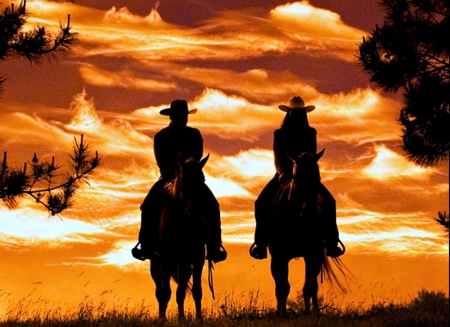 Sunset - cal, orange, black, sunset, silhouette, cowboy, horse, couple