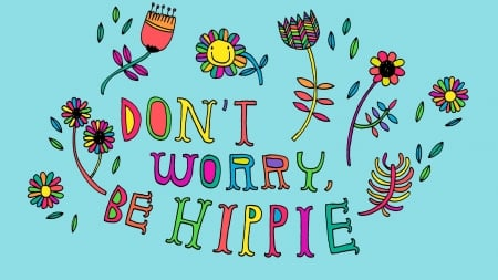:) - hippie, card, happy, colorful, flower, word