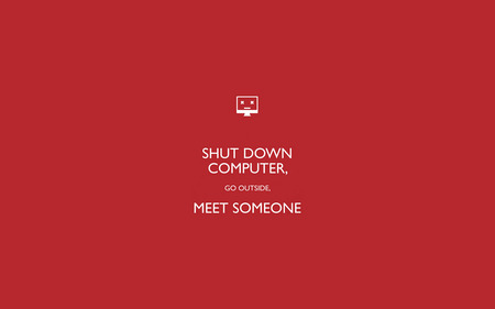 Shut Down Computer - computer, shut down, someone, outside, meet, red, wallpaper
