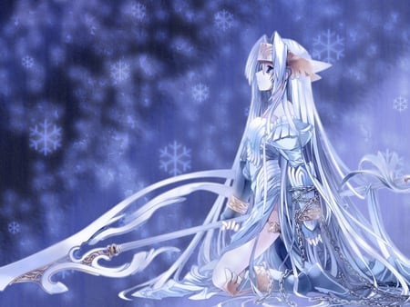 Winter Weather - snow, winter, blue, girl, female, anime, cute, anime girl