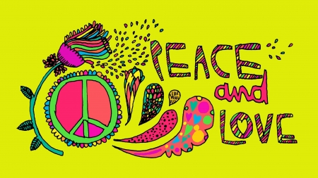 :) - colorful, love, yellow, hippie, peace, pink, word, card