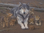 Young Wolves and Mother