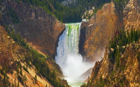 Lower Falls of the Yellowstone River, Yellowstone National Park - cliff, water, usa, Wyoming