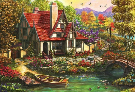 Cottage by the River - trees, bridge, house, boat, painting, artwork
