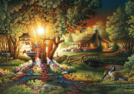 The Colors of Spring - sunlight, birds, painting, flowers, river, cabin, trees, artwork, bridge