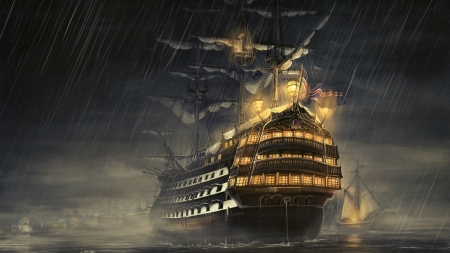 pirate ship - rain, ship, ocean, pirate