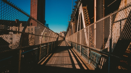 Manhattan Bridge Footpath - architecture, manhattan bridge, bridge, footpath