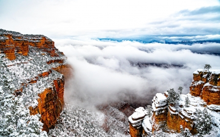 First snow at Grand Canyon 2021 - winter, arizona, usa, sky, clouds, landscape