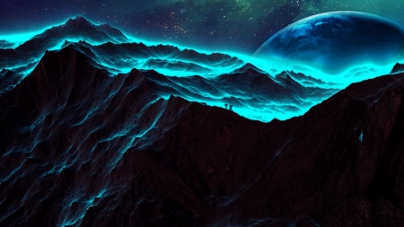 Exploring new horizons - mountains, stars, planets, people, manipulation, digital, sky
