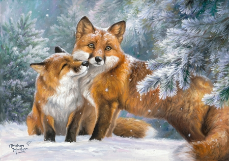 Winter Cuddles - trees, snow, forest, painting, foxes, artwork