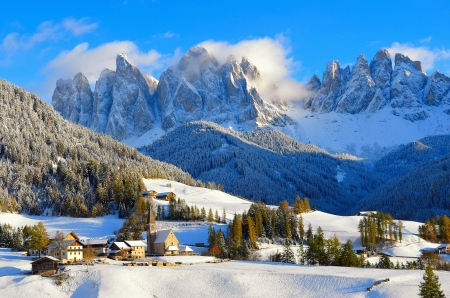 The village of Santa Maddalena, Italy - Italy, slope, Santa Maddalena, picturesque, winter, Val di Funes, houses, beautiful, mountain, snow, dolomites