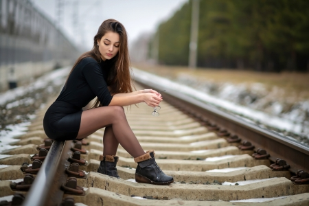 Brunette in a Black Dress - brunette, railway, dress, model