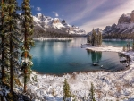 Winter Scene of Maligne Lake & Spirit Island