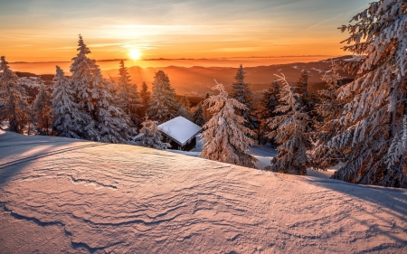 Cabin in Winter Forest - cabin, mountains, winter, forest, snow, sunset