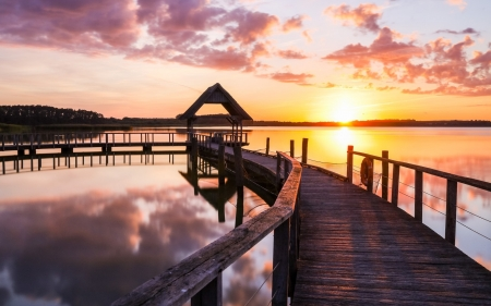 Pier in Lake - sunset, Germany, lake, pier