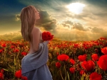 Lovely Lady in a Field of Poppies