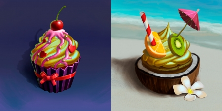 Cupcakes - cupcake, collage, aliaksandr valuyevich, sweet, food