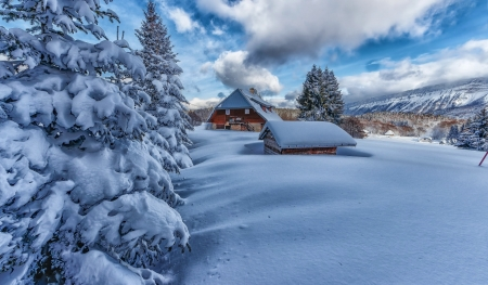 Houses in the snow - winter, houses, mountain, snow, beautiful, sky, cold