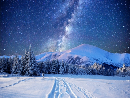 Winter Night - Landscape, Snow, Mountains, Winter